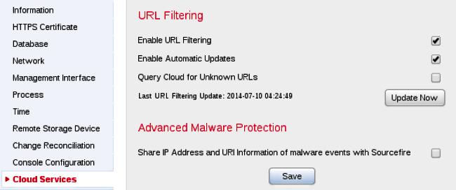 URL Filtering Options